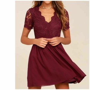 Lulus Angel in Disguise Burgundy Lace Skater Dress